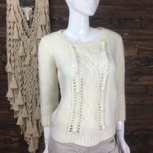 Old Navy | Braided Cable Knit Crew Pom Pom Sweater